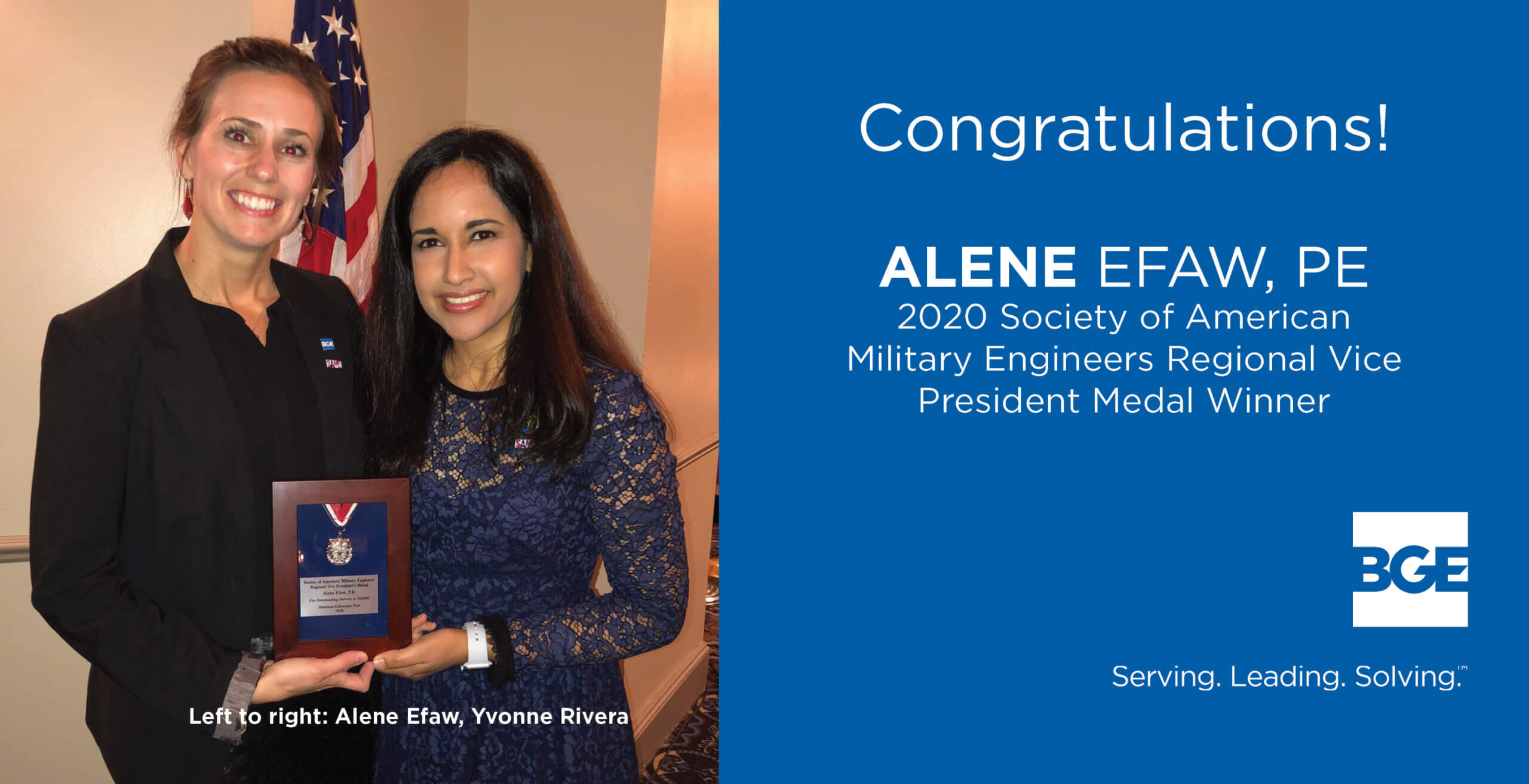 BGE Engineer Earns RVP Medal from the Society of American Military Engineers