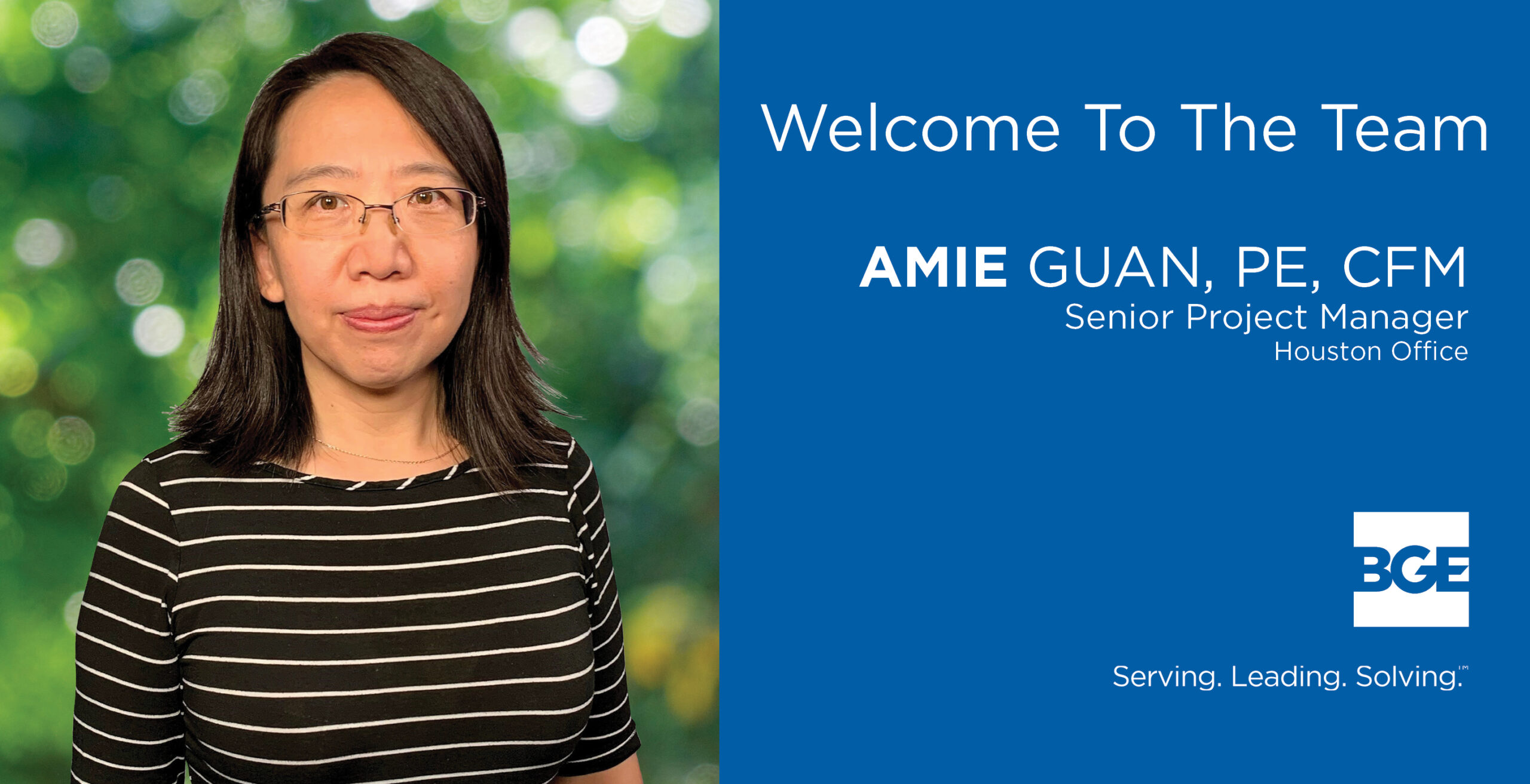 Welcome graphic for Amie Guan, who recently joined BGE, Inc.
