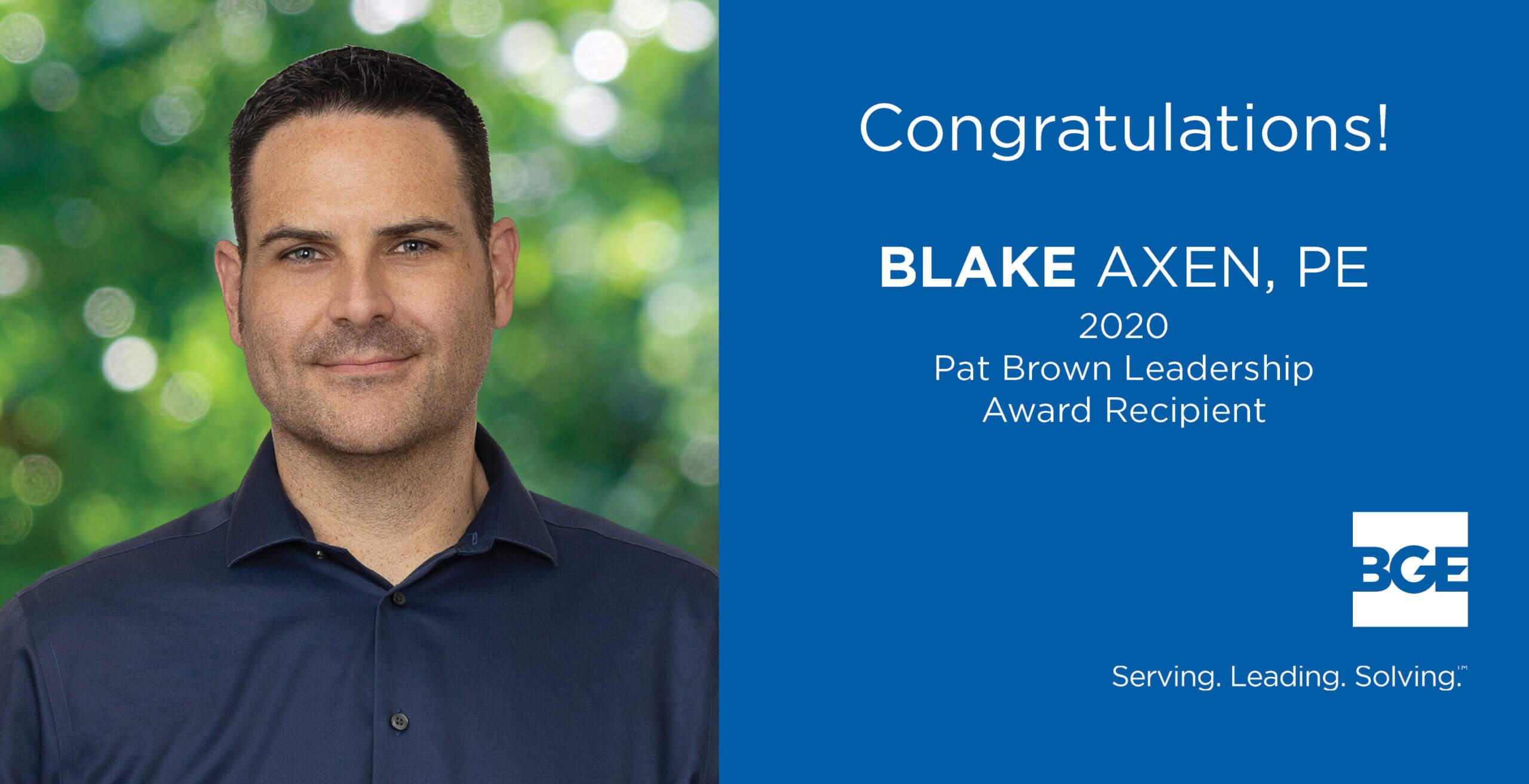 Axen Honored with Pat Brown Leadership Award