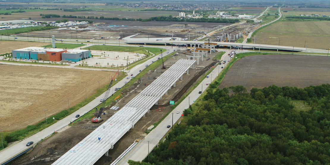 Overall view of current progress of Dallas North Tollway Phase 4A project.
