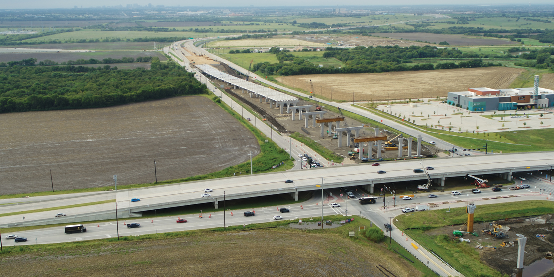 Aerial view of ongoing bridge construction over US 380 in the Dallas North Tollway Phase 4A project.