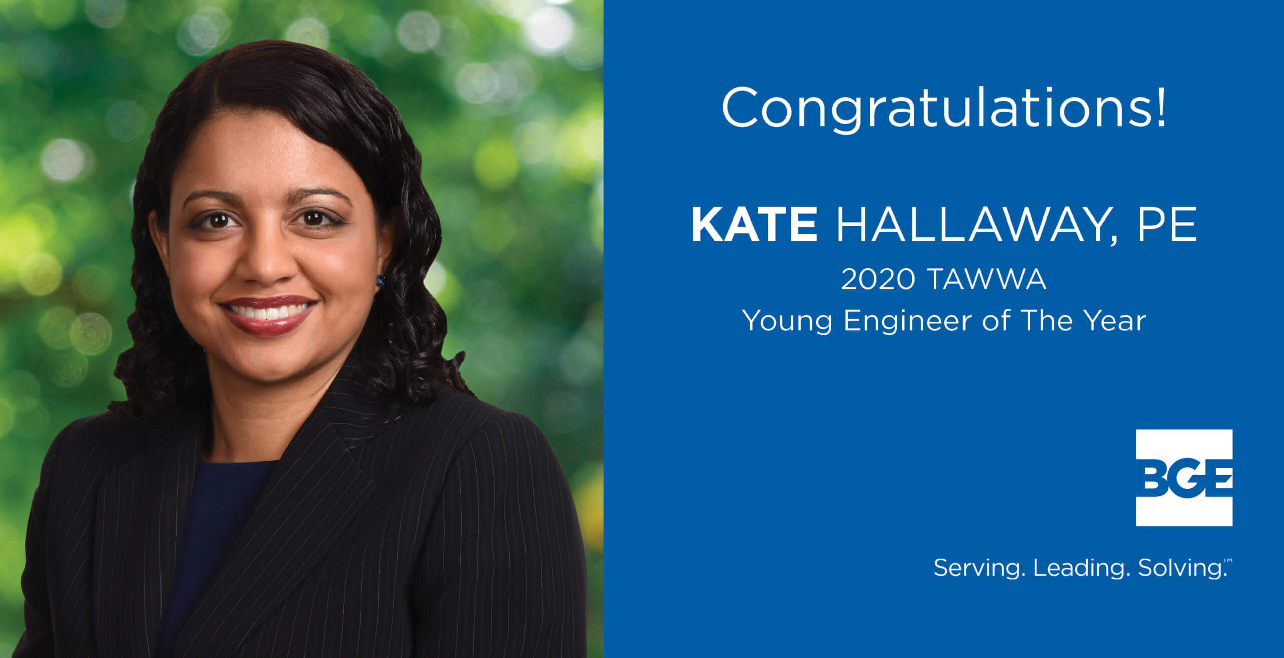 BGE Project Manager Earns TAWWA Young Engineer of the Year Award