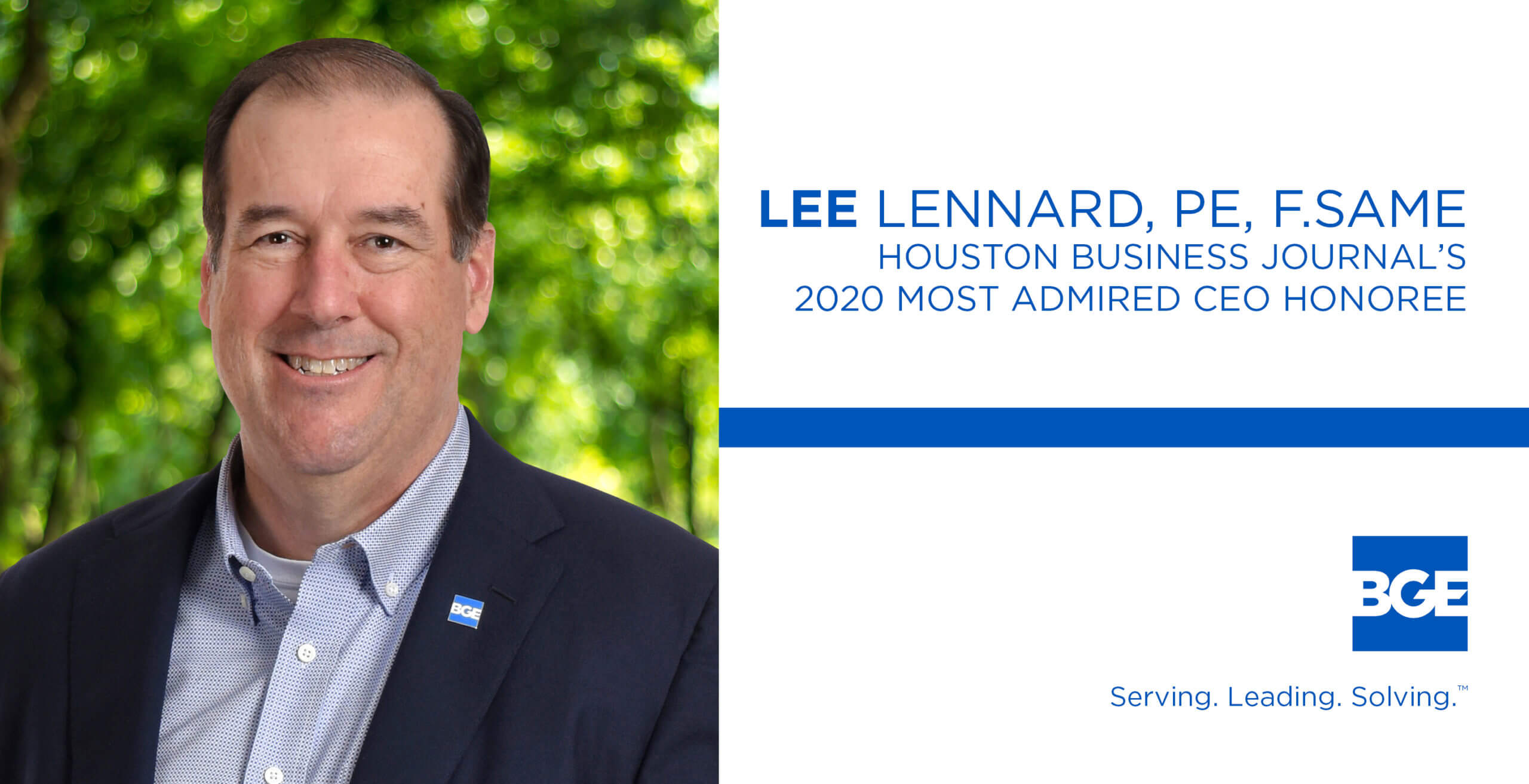 Houston Business Journal Lists BGE President and CEO Among Its List of Most Admired CEOs