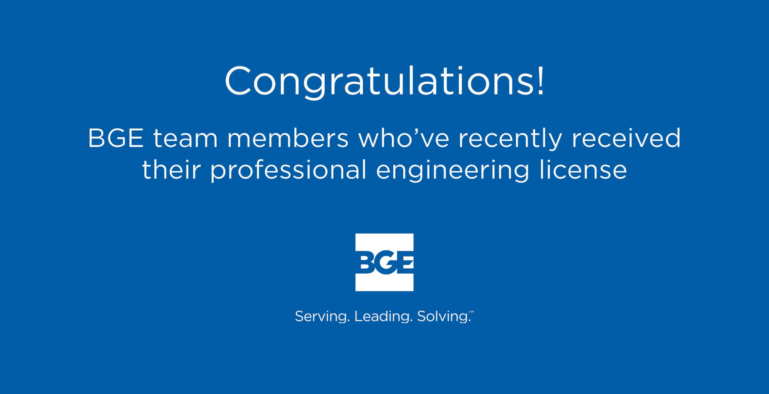 BGE Engineers Earn Professional Engineering Licenses